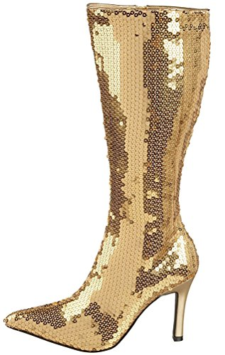 Karneval-Klamotten Disco Stiefel Pailletten Gold goldene Paillettenstiefel 80er Jahre Karneval Größe 41 (Stiefel Kostüm Gold)