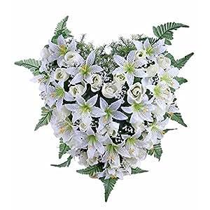 Ligne Déco 484905WO-W Fleurs Artificielles Funéraires en pot lesté - Coussin Coeur de Boutons de Roses et Lys 20 cm