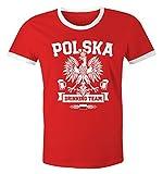 Herren WM-Shirt WM Polska Polen Poland Flagge World Cup Drinking Team 2018 Retro Fun Rot-Weiß M