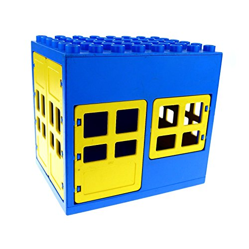 Garage, Türen Große (1 x Lego Duplo Gebäude Tankstelle blau gelb 6x8x6 gross Haus Puppenhaus Fenster Tür doppel Tor 2206 2205 2209 2210)