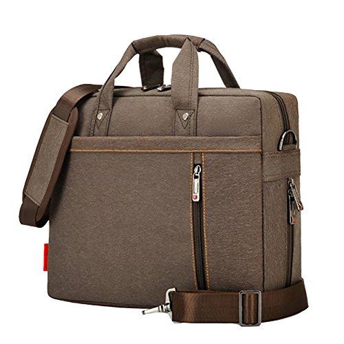 15-17 Zoll Laptoptasche Notebooktasche für Laptop Tablet Schultertasche 360 stoßfest Umhängetasche Computer Bag Tasche wasserdicht mit Schultergurt für Schule Studium Braun