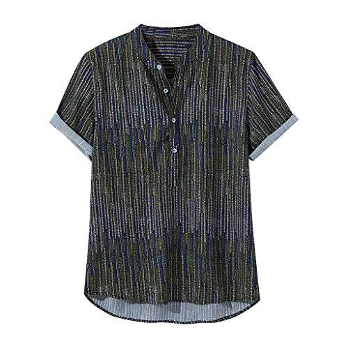 Mens Ethnic Printed Stehkragen Bunte Streifen Kurzarm Loose Henley Shirt