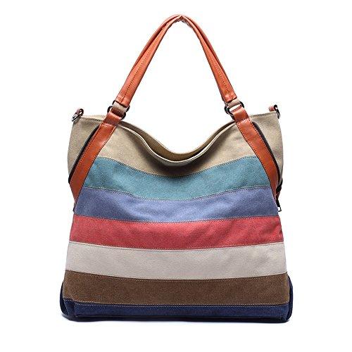 KAUKKO Elegante Damen Handtasche Totes Leder Umhängetasche Schultasche 2 Way Use Freizeittasche (Stripes)