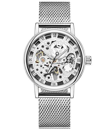 Reloj de pulsera sin fondo con tono plateado
