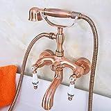 Baño ducha termostática Llymgx Grifo de bañera con patas de doble asa de cerámica de cobre y latón con cabeza de ducha