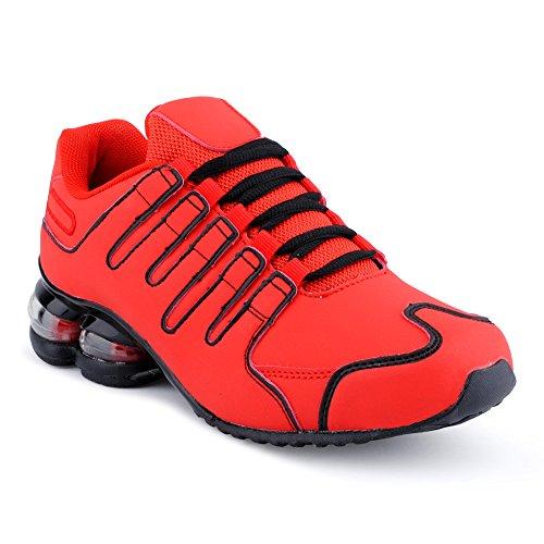 Fusskleidung Herren Damen Sportschuhe Dämpfung Neon Laufschuhe Gym Sneaker Unisex Rot EU 37