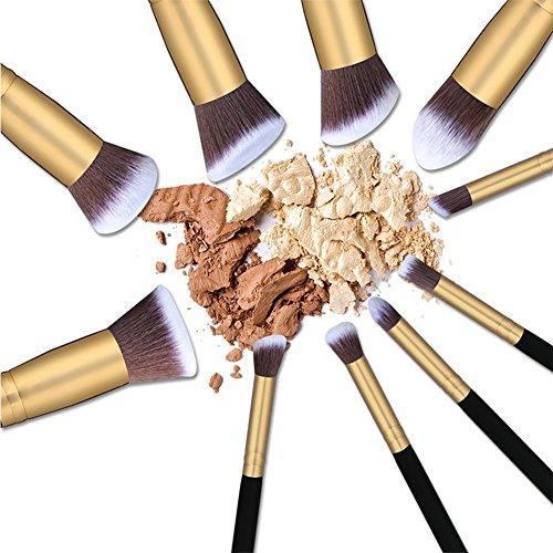 TASIPA 10Pcs Make-up Pinsel Sets, Make-up Schönheit Pinsel Woods Set für Make-up, Make-up Pinsel Set Kit mit einem tragbaren Reisetasche (Gold + Schwarz) - 3