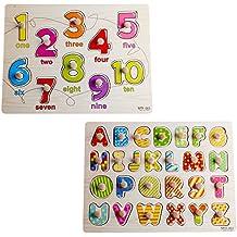Inicio Aprendizaje Preescolar Desarrollo de la Educación Temprana Colorido Alfabetos de 26 Piezas y Número de 10 Números Peg Wooden Puzzle Bundle Juguetes y Juegos para Niños Niños Niños Bebés Niños Niñas