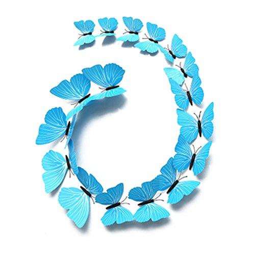 junkai 3D Schmetterlinge Aufkleber 12 Stück Wandtattoo Schmetterling Wandtattoos Schmetterlinge Wandaufkleber für Wohnung/Zimmer Dekoration Magnetwand Dekor