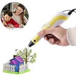 BANGBO Pluma de impresión 3D con pantalla LED Compatible con PLA y ABS Filamentos el regalo Increíble para los niños(amarilla)