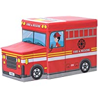 Preisvergleich für Folding Storage Seat Bench- 30L Faltbare Cartoon Storage Hocker Haushalt Kinderspielzeug Kleidung Aufbewahrungsbox mit Deckel Home Decor (Farbe : Rot)