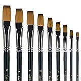 Pennello dell'artista-9 pcs Set di pennelli da pittura, 9pcs nylon flat brush set
