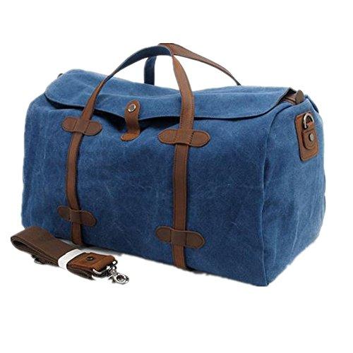 Bestfort Damen Herren canvas Leder Tasche Retro Regenschutz wasserdicht Groß 54*30*22 CM für Reisen Urlaub Weekender (Schwarz) Blau