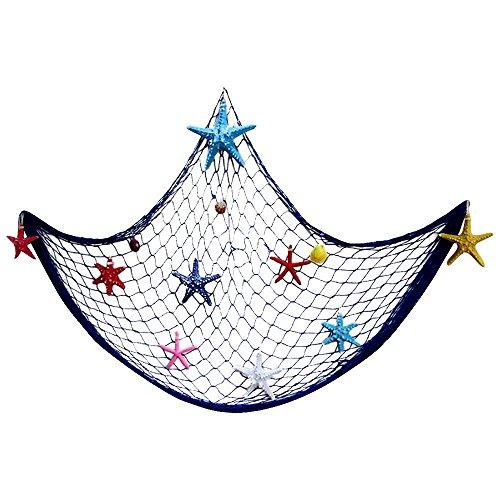 LOTONJT Deko-Fisch Net, Nautical Fish Net Luau Meerjungfrau und Piraten Thema Party, Home Schlafzimmer Wand Weihnachtsdekoration, Bild Karten Collage Kunstwerke 18.56FT x 3,28FT (200x 100cm) Blau