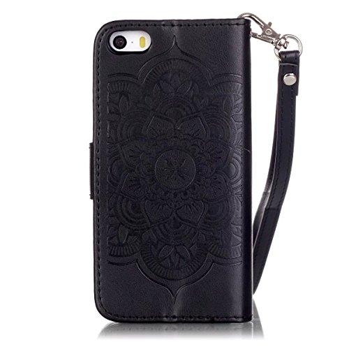iPhone Case Cover Peint de couleur motif portefeuille style cas magnétique conception flip folio PU Housse en cuir couvrir cas standup pour iPhone 5S SE ( Color : Black , Size : IPhone 5S SE ) Black