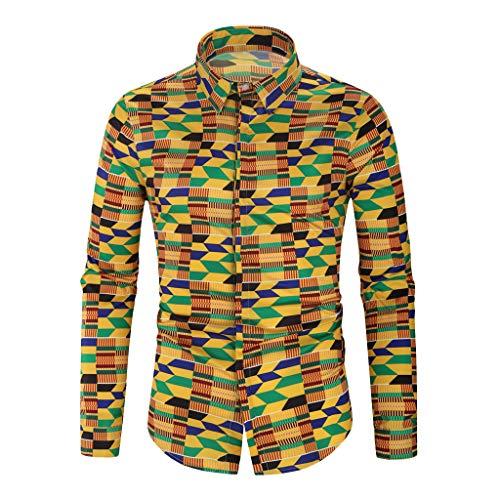 Notdark Herren Hemd Drucken Herren Beiläufig Revers T-Shirt Tops Langarm Slim Fit Freizeit Hemden Shirts für Männer Oversize (XL,Mehrfarbig) -