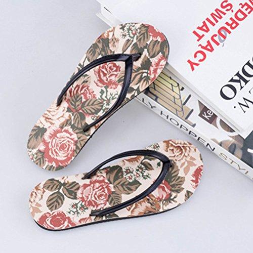 Zhuhaitf Haute qualité Womens Summer Beach Flat Shoe Fashion Floral Flip Flop Sandals red