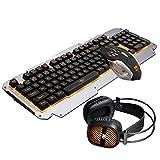 Sopear Metall Tastatur Gaming Tastatur Key Board Pad + Maus + Headset Kit mit Hintergrundbeleuchtung 104Schlüssel Gelb Licht