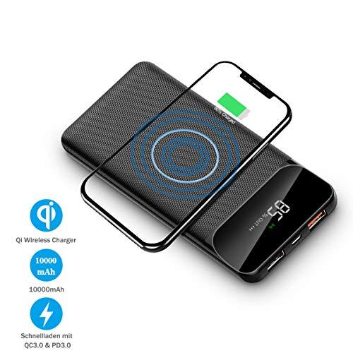 HOKONUI Wireless Charger 10000mAh Powerbank basiert auf QC 3.0 Schnellaufladung QI Power Bank Induktionsladegerät mit LCD Display Handyständer und Anti-Rutsch Design für iPhone Samsung Huawei etc.