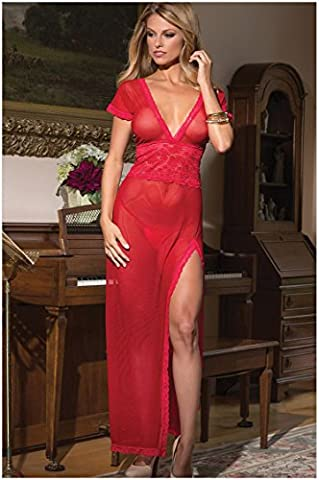 Sexy Women Bandage Bodycon Sheer Evening Party Cocktail Maxi Dress Red XXL