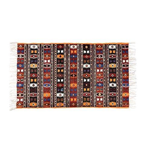 Homescapes 100% Cotton Kilim Printed Rug . Terracotta Black and Brown Design. 70 x 120 cm Multi Purpose Mat.