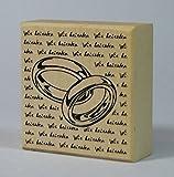 Stempel - Wir heiraten 60 x 60 mm Ringe mit Schrift , Hochzeit Kartengestaltung