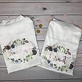 Morgenmantel Hochzeit Brautkimono weiß mit floralem Muster - personalisierbar AUCH MIT LOGO