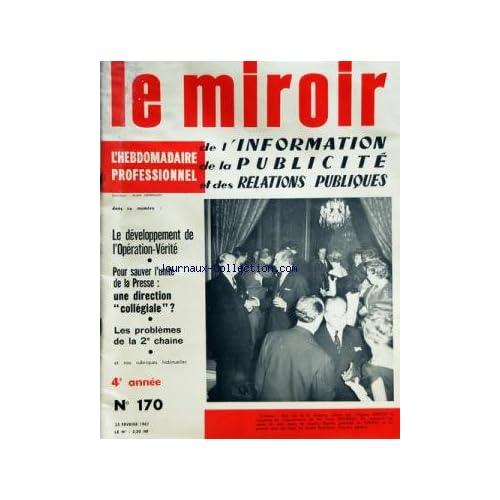 MIROIR DE L'INFORMATION DE LA PUBLICITE ET DES RELATIONS PUBLIQUES (LE) [No 170] du 25/02/1961