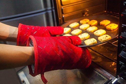 Aicok Guantes de Cocina  Guantes de Horno No Deslizantes Resistentes al Calor Perfectos para Cocinar  Hornear y Barbacoas  1 par Rojo