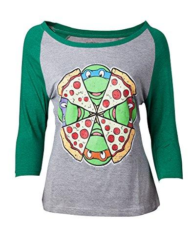 Damen T Ninja Turtles Shirt (Ninja Turtles - Vrouwelijke Raglan T-Shirt - Maat)