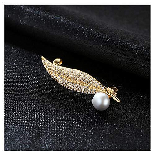 Peggy Gu schmuck Frauen Mädchen Erstellt Design Blattform Strass Diamante Perle Brosche Pins Hochzeit kostüm - Accessoire (Farbe : Grey)