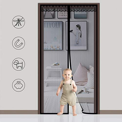 Axmda Fliegengitter Tür, Insektenschutz 100x210cm Magnet Vorhang Fliegengitter Moskitonetz, Fliegengitter Tür ohne Bohren für Balkontür Wohnzimmer Terrassentür (Lang, Vorhänge Cm 96)