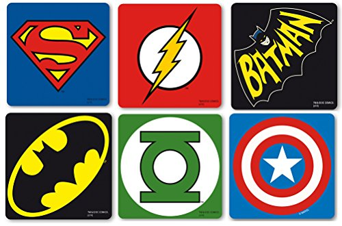 original DC Comics Marvel Superhelden Logo Kork Untersetzer Set 6tlg mit Batman, Superman, The Flash, Green Lantern, Captain America