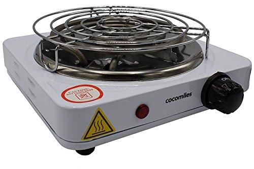 cocomiles Heater Kohleanzünder für Shisha Kohle 1000W Kohlenanzünder Elektrisch weiß mit Gitter 140 cm Kabel