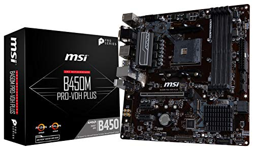 MSI ProSeries AMD Ryzen 1. und 2. Generation AM4 M.2 USB 3 DDR4 D-Sub DVI HDMI Micro-ATX Motherboard (B450M PRO-VDH Plus) (Msi-amd-atx-motherboard)