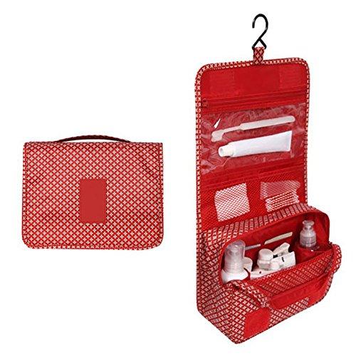 Beiguoxia Trousse de toilette à suspendre de voyage portable Motif étoiles - Rouge taille unique