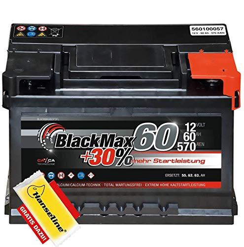 BlackMax Autobatterie 12V 60Ah PKW Batterie statt 55Ah 50Ah 45Ah 44Ah inklusive Polfett
