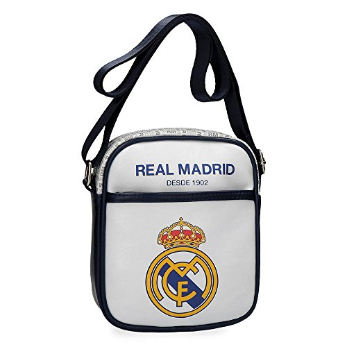 Real Madrid White Rm Umhängetasche, 20 cm, 2.34 liters, Weiß (Blanco) (Real Madrid Messenger Tasche)