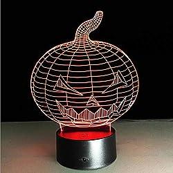 IMEHW 3D Ilusión LED Luz De La Noche, Calabaza De Halloween 7 Colores Graduales Lámpara Cambiante Mesa Escritorio Deco Lámpara Hogar Decoraciones del Dormitorio