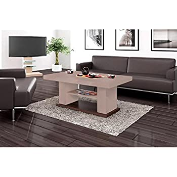 design couchtisch hn 777 cappuccino nussbaum hochglanz h henverstellbar ausziehbar. Black Bedroom Furniture Sets. Home Design Ideas