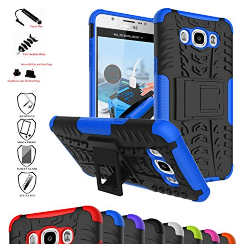 Galaxy J7 2016 Custodia, Mama Mouth Duro Shock Proof copertura Rugged Heavy Duty Antiurto in Piedi Custodia caso Case per Samsung Galaxy J7 J710 2016 Smartphone,Blu