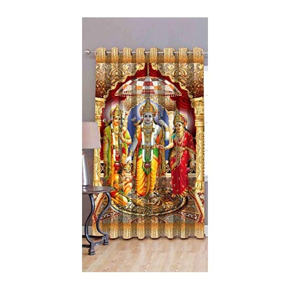 Amazin Homes 3D Digital Print Ram Darbar Curtain Temple/Pooja Room/Living Room