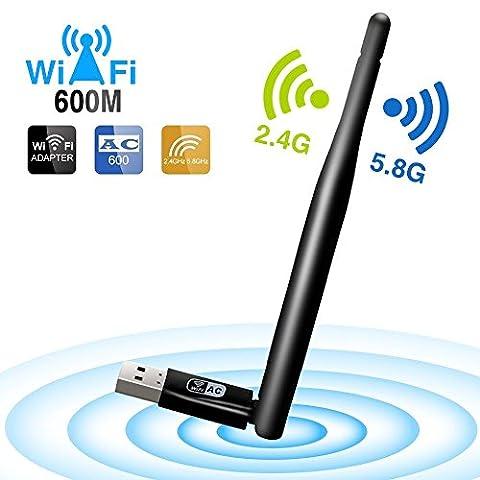 Iyowin Usb Wifi Dongle 600M AC et clé Usb wifi Windows 10 Avec la 5dBi Antenne, Récepteur Stable du Signal WIFI pour ordinateur portable PC de bureau