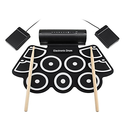 WMING Digital Electronic Drum Kit-9 Pads Portable Electronic Roll up Drum Folable Practice Instrument Built-in Speakers & Foot Pedals & Drum Sticks for Kids, Beginner, Adult - 738-stick