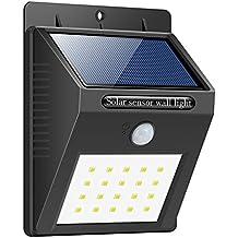 Foco Solar,Luces Solares 20 LED,1200mAh Lámparas Solares de Pared Impermeable,Luz de solar,Luces de Exterior con Sensor de Movimiento Batería Solar Exterior para Jardín,Patio,Camino,Escalera- iPosible