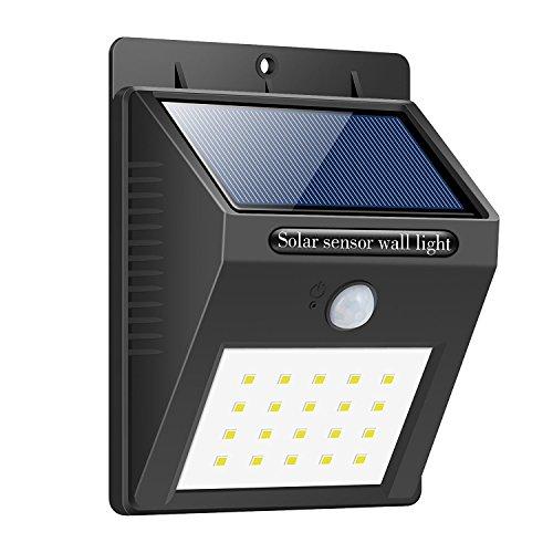 Foco Solar,Luces Solares 20 LED,1200mAh Lámparas Solares de Pared Impermeable,Luz de solar,Luces de Exterior con Sensor de Movimiento Batería Solar Exterior para Jardín,Patio,Camino,Escalera  iPosible