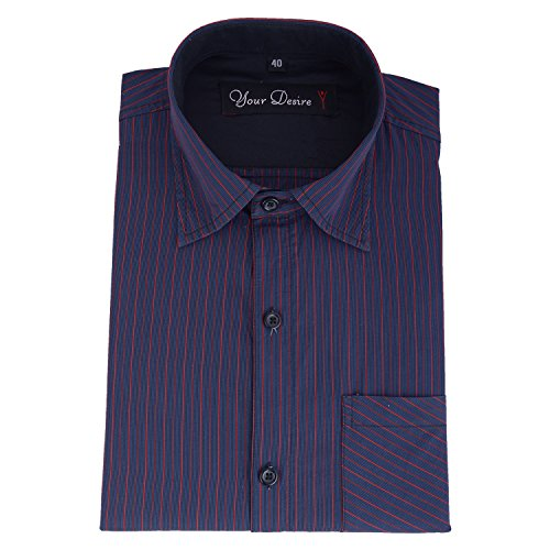 Your Desire Shirts Men Cotton Black and Red Formal Shirt (Size 40)