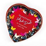 private schoki Pralinenschachtel in Herzform bedruckt mit Namen und Text - Motiv: Ich liebe Dich! - 165 g