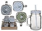 OOTB Trinkgläser-Set mit Deckel, Henkel und Strohhalm (0,4 Liter) mit Schraubdeckel und Trinkhalm-Loch (Stars, 6)