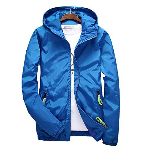 5XL 7XL Frühling Herbst Junge Männer Windbreaker Kapuzenjacke Schlank Dünn Kleidung Top Qualität Wasserdicht Plus Größe Blau, 7XL ()